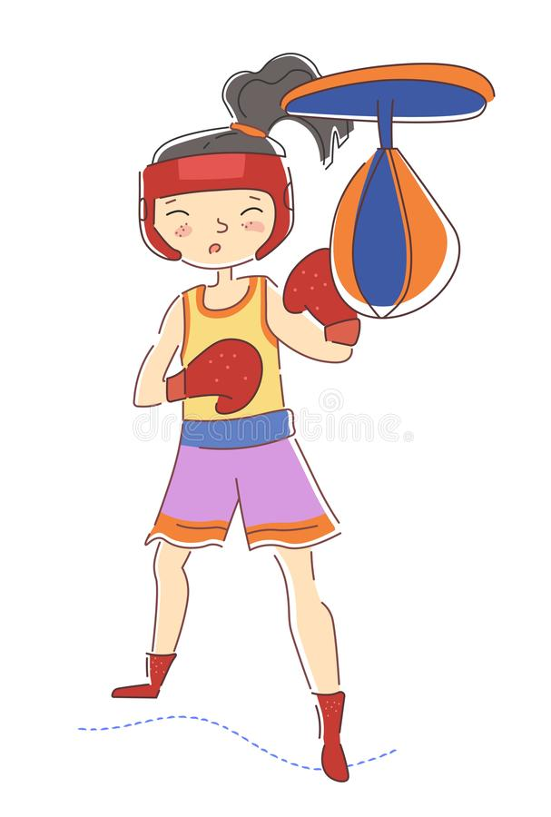 Determined young girl boxer wearing colorful red boxing gloves working out in a gym punching the pummel bag isolated on vector illustration