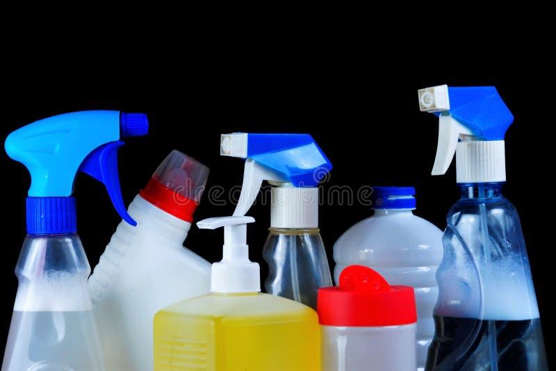 Detersivo da spruzzo, gel, sapone, detersivo - ripristino sanitario di pulizia Mantenga l'igiene sicura, rimuova la sporcizia den fotografia stock