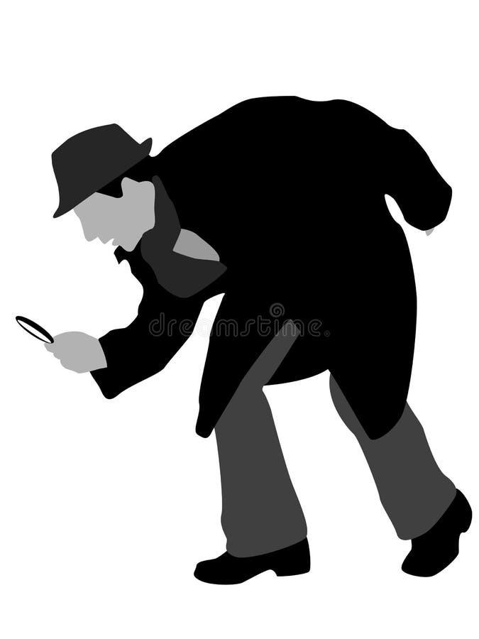 Detetive com magnifier ilustração do vetor