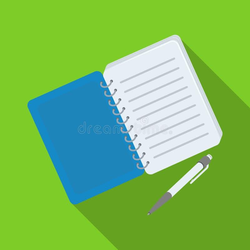 Detetive de papel do caderno Bloco de notas para gravar leituras, para resolver o crime Único ícone do detetive no vetor liso do  ilustração royalty free