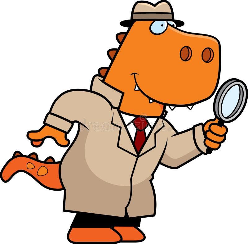 Detetive do dinossauro dos desenhos animados ilustração royalty free