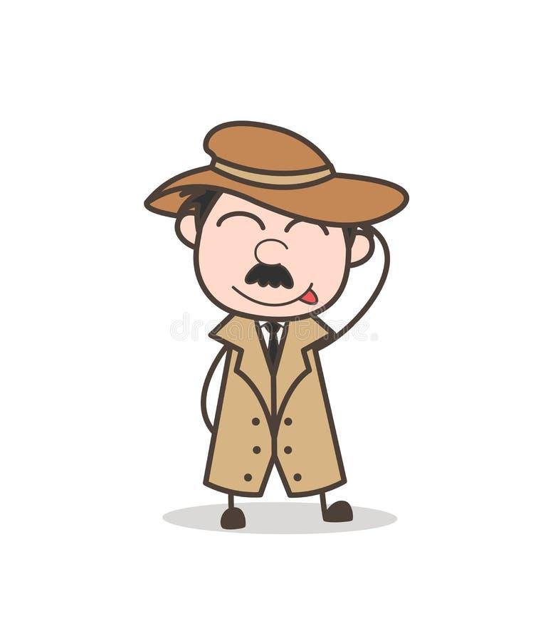 Detetive engraçado Stuck-Out Tongue dos desenhos animados e cara de cora ilustração royalty free