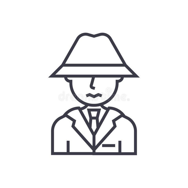 Detetive, espião, homem com linha fina ícone do vetor do conceito do chapéu, símbolo, sinal, ilustração no fundo isolado ilustração do vetor
