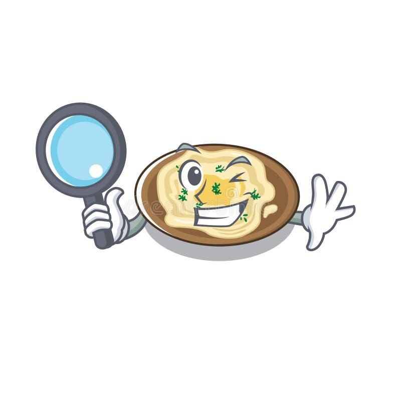 Detetive Hummus serviu sobre a mesa de cartoon de madeira ilustração stock