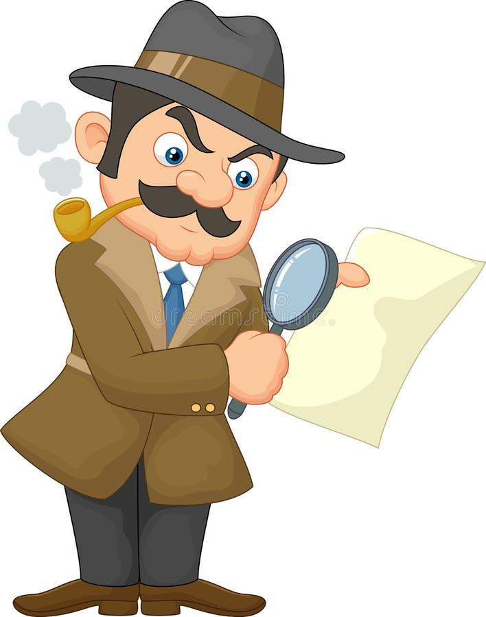 Detetive Man dos desenhos animados ilustração stock