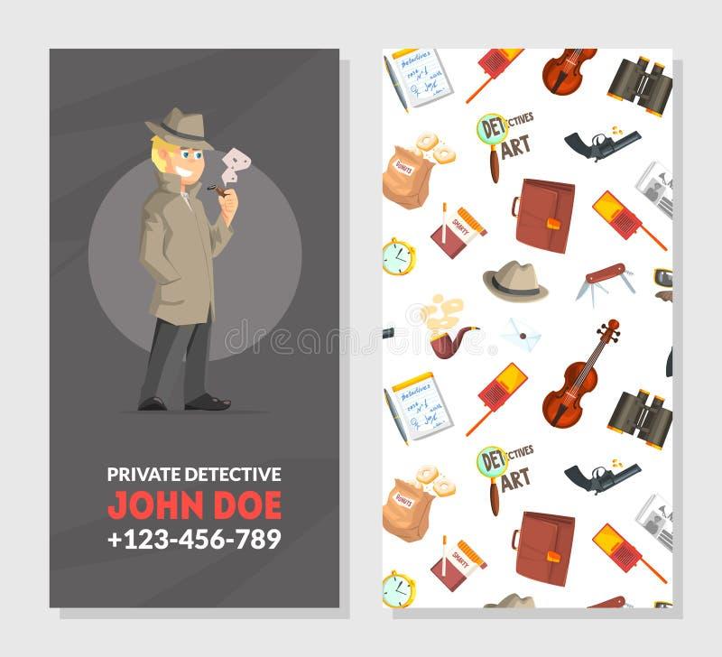 Detetive privado Business Card Template, investigador equipamento e quadro dos acessórios com lugar para o texto ilustração do vetor
