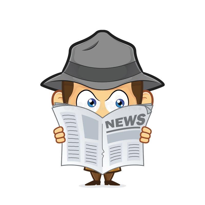 Detetive que espia através do jornal ilustração stock