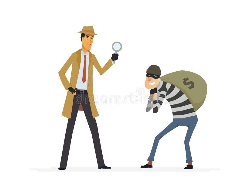 Detetive que trava um ladrão - ilustração dos caráteres dos povos dos desenhos animados ilustração do vetor