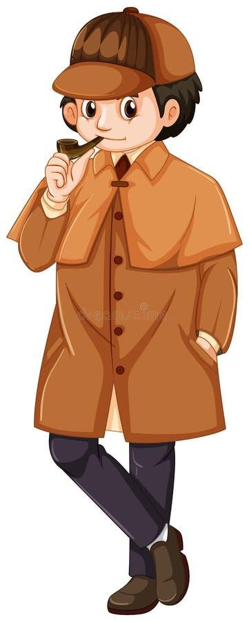 Detetive que veste o sobretudo marrom ilustração royalty free