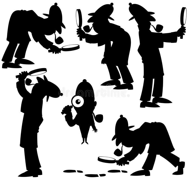 Detetive Silhouettes ilustração do vetor