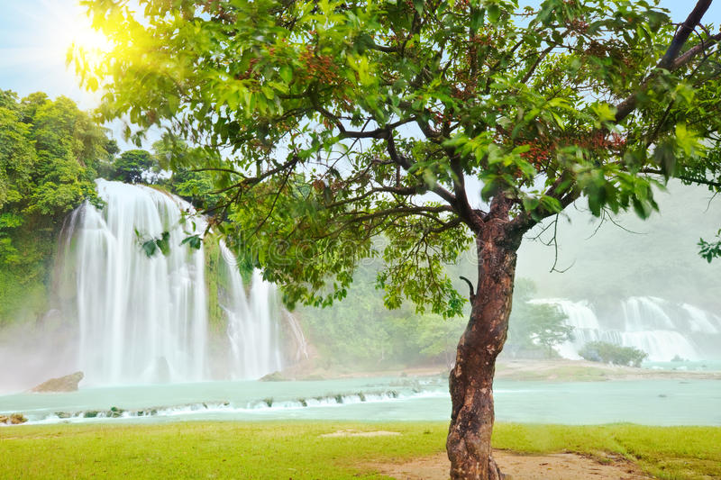 Detian and Ban Gioc waterfall royalty free stock images