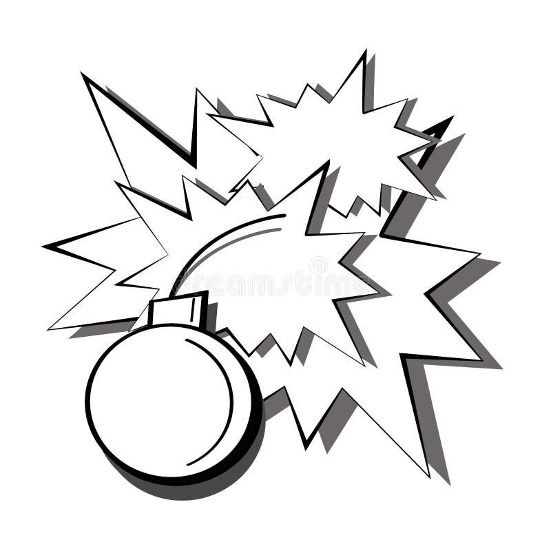 Detonación blanco y negro del arte pop de una bomba con las chispas y los flashes de explosiones Ejemplo de cómic de la historiet stock de ilustración