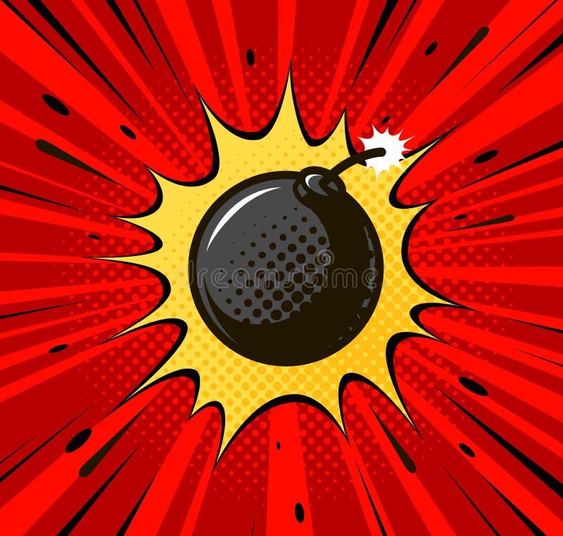 Detonazione della bomba, palla di cannone Stoppino di combustione, asta, concetto di esplosione Retro stile comico di Pop art Vet illustrazione di stock
