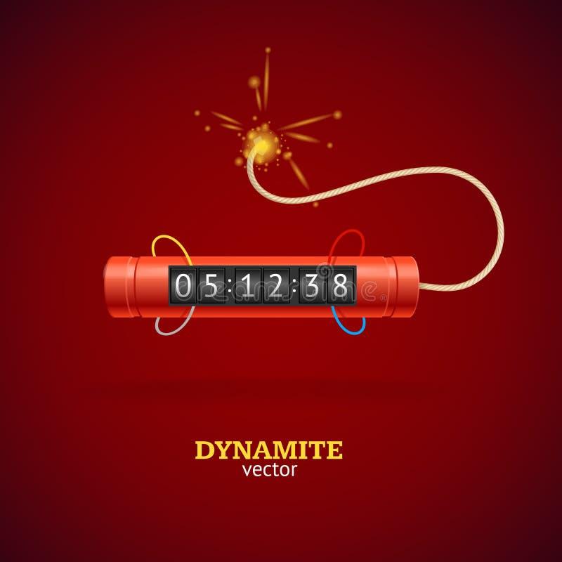 Detonera dynamit bombarderar och tidmätareklockan vektor vektor illustrationer