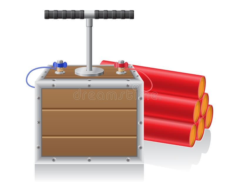 Detonera säkrings- och dynanitevektorillustrationen stock illustrationer