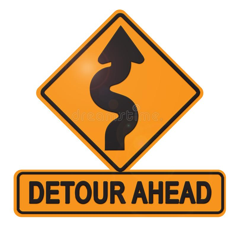 Free Detour Ahead Street Sign With Curved Arrow Stock Images - 126657734