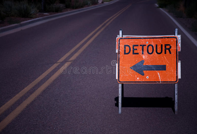 Detour road sign stock photo