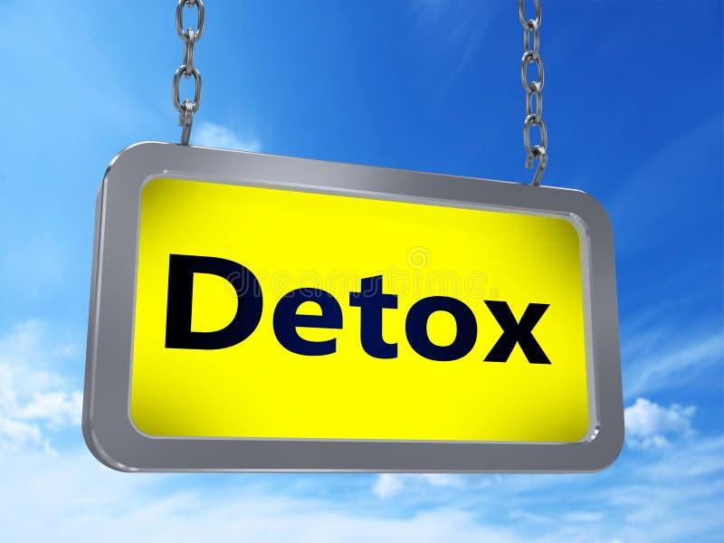 Detox on billboard. Detox on yellow light box billboard on blue sky background stock illustration