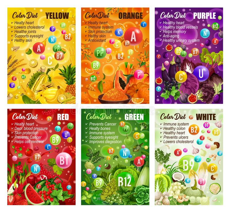 Detox color diet, fruit and vegetables, berries. Color detox diet, vegetables and berries, fruits. Vector durian and pineapple, banana and wheat, papaya and vector illustration