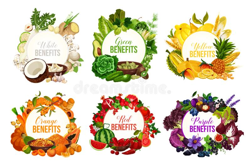 Detox color diet icons with fruits and vegetables. Fruits and vegetables, detox color diet vector icons. Berries and nuts, herbs, spices and dried fruits. Food stock illustration