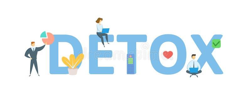detox Concept avec des personnes, des lettres et des ic?nes Illustration plate de vecteur D'isolement sur le fond blanc illustration de vecteur