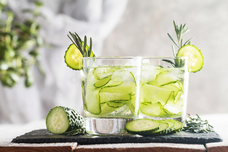 Detox cucumber water stock photos