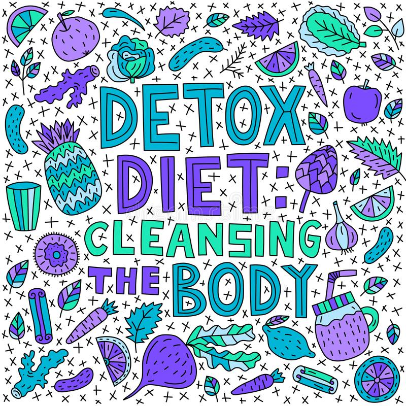 Detox diet: cleansing the body. Vector lettering with doodle illustrations stock illustration