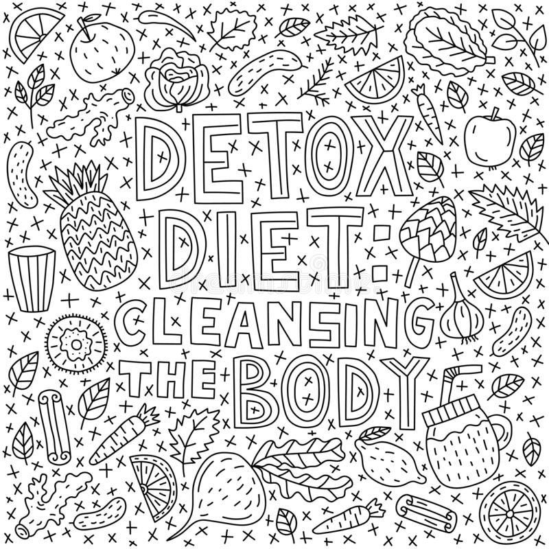 Detox diet: cleansing the body. Vector lettering with doodle illustrations royalty free illustration