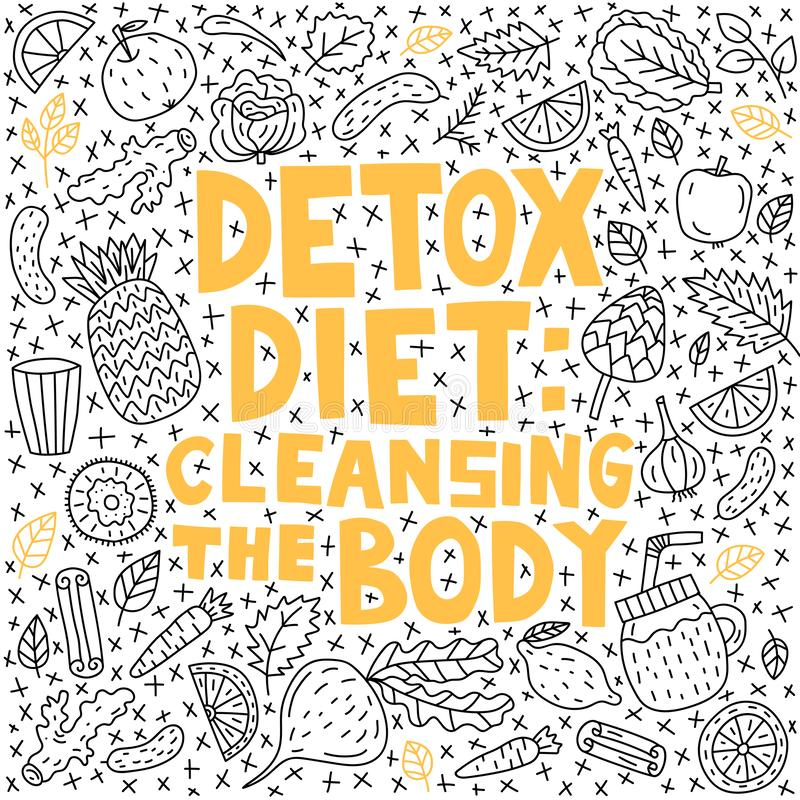 Detox diet: cleansing the body. Vector lettering with doodle illustrations vector illustration