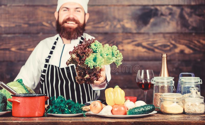Detox diet. Dieting organic food. Healthy food cooking. Mature hipster with beard. Cuisine culinary. Vitamin. Vegetarian royalty free stock image