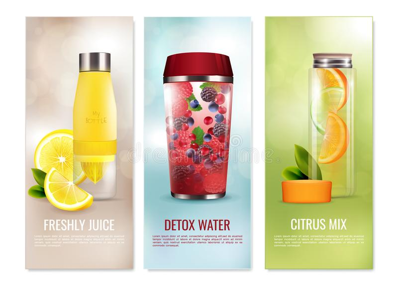 Detox Drinks Banners Set. Detox drinks set of vertical banners with fresh juice, citrus mix on blurred background isolated vector illustration royalty free illustration