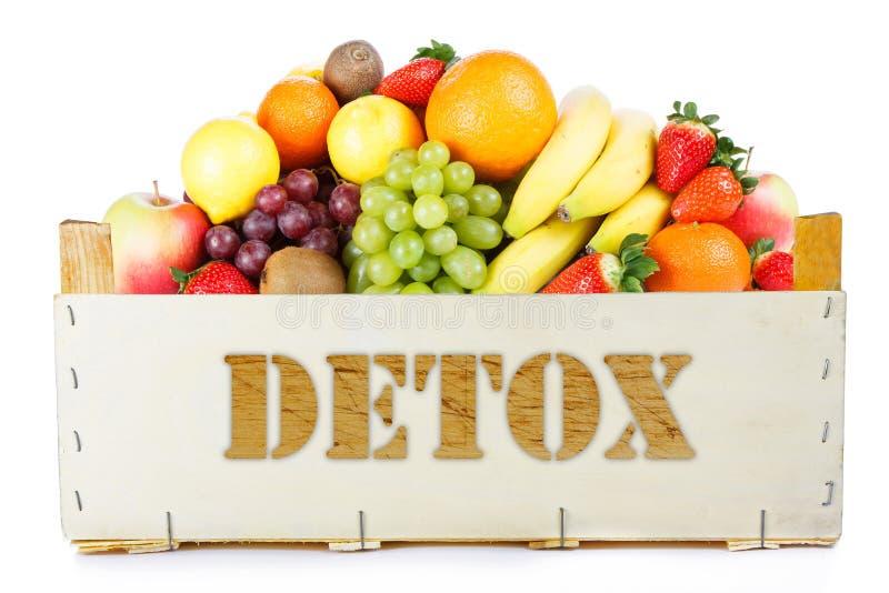 Detox. Fruits in wooden box