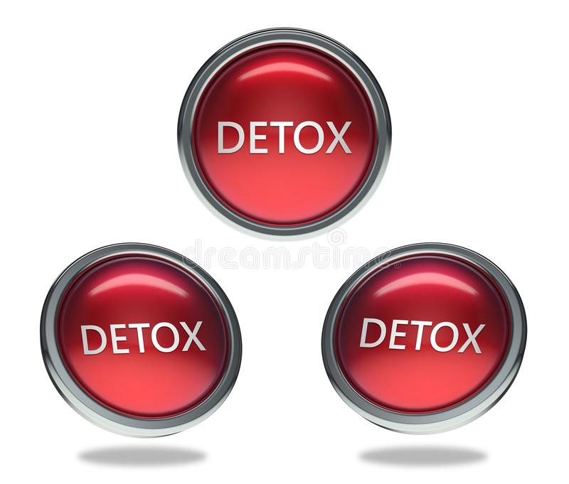 Detox glass button. Detox round shiny red 3 angle web icons with metal frame,3d rendered isolated on white background royalty free illustration