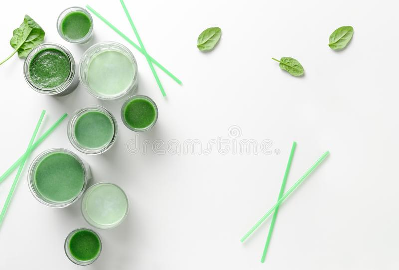 Detox green smoothies concept. Detox green smoothies background, view from above, space for a text stock photo