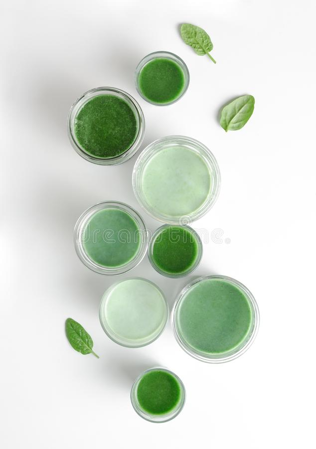 Detox green smoothies concept. View from above royalty free stock photography