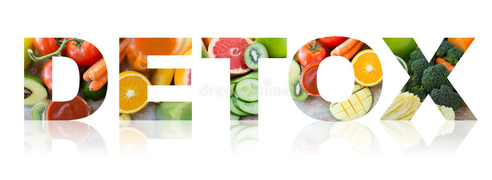 Detox, healthy eating and vegetarian diet concept. Healthy eating and vegetarian diet concept - word detox with juice, fruits and vegetables vector illustration