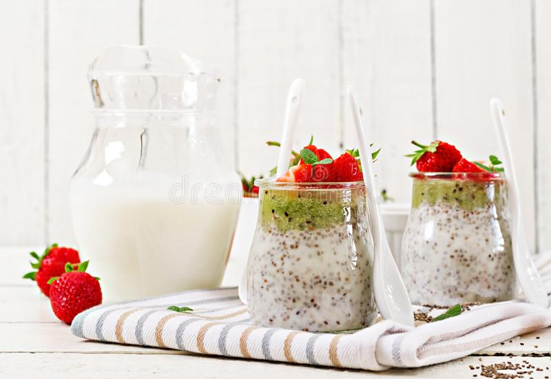 Vegan coconut milk chia seeds pudding with strawberries royalty free stock photos