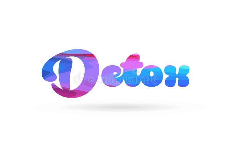 detox het roze blauwe pictogram van het de tekstembleem van het kleurenwoord vector illustratie