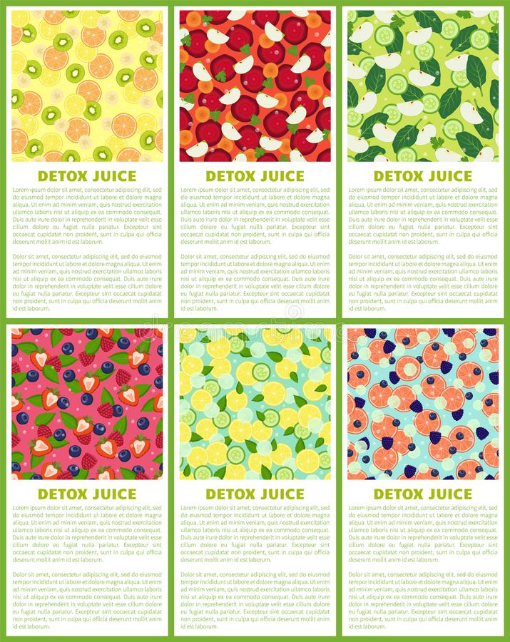 Detox Juice Poster Ingredients de boisson régénératrice illustration de vecteur