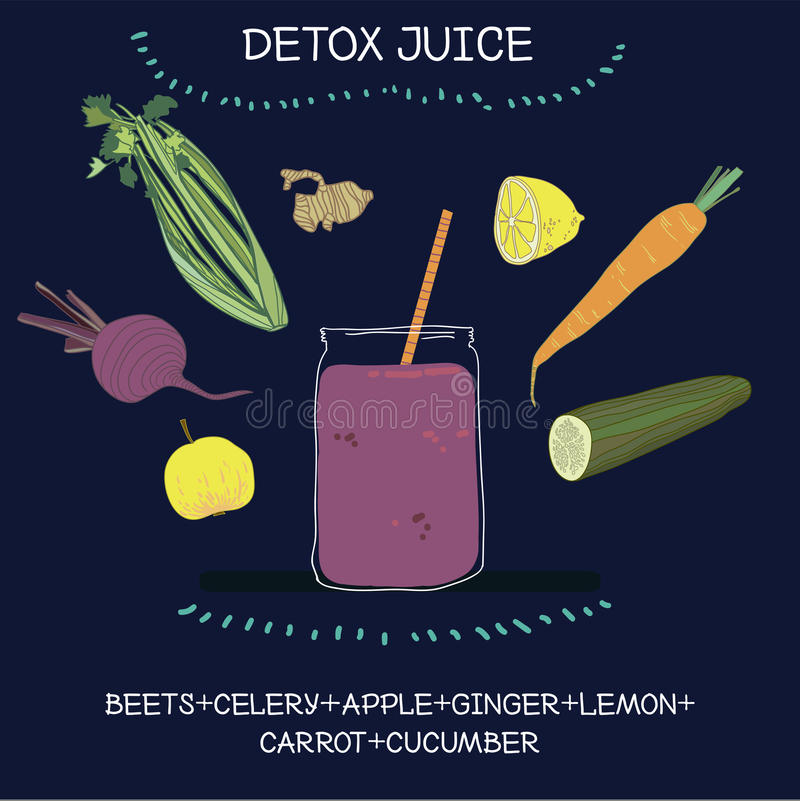 Detox juice. Simple recipe for healthy lifestyle: beet juice with carrot, celery, apple, cucumber, lemon and a little bit of ginger. Extremely good for detox and vector illustration
