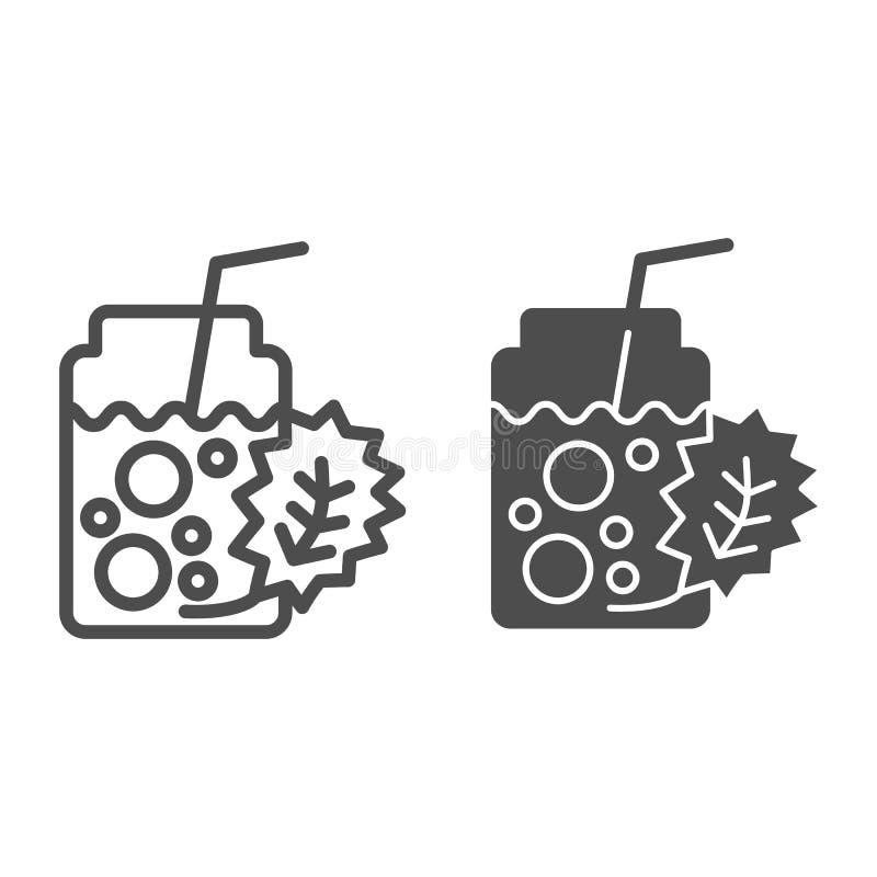 Detox koktajlu linia i glif ikona Świeżego napoju wektorowa ilustracja odizolowywająca na bielu Zdrowy napoju konturu styl ilustracji