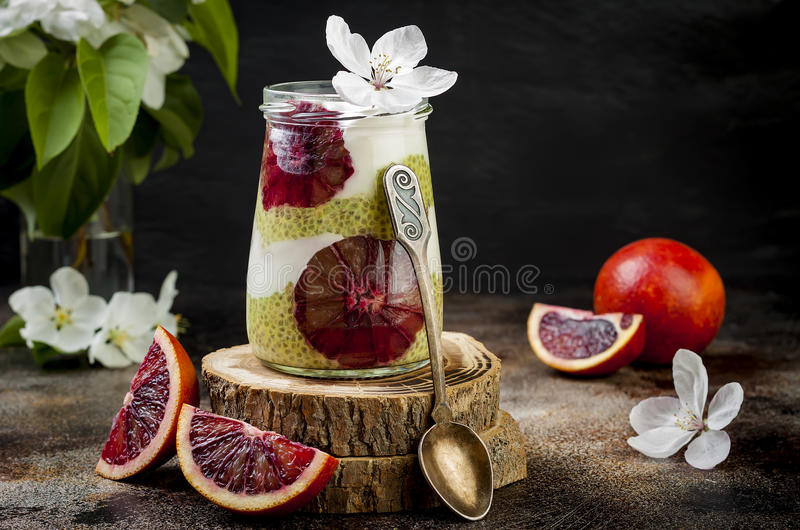 Detox layered matcha green tea chia seed pudding with blood oranges. Vegan dessert with coconut whipped cream. Healthy vegetarian breakfast, dieting, weight royalty free stock image