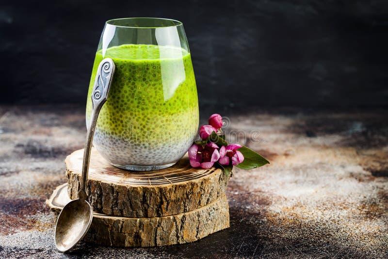 Detox matcha zielonej herbaty chia ziarna ombre ablegrujący pudding Weganinu deser z kokosowym mlekiem Jarosza zdrowy śniadanie fotografia royalty free