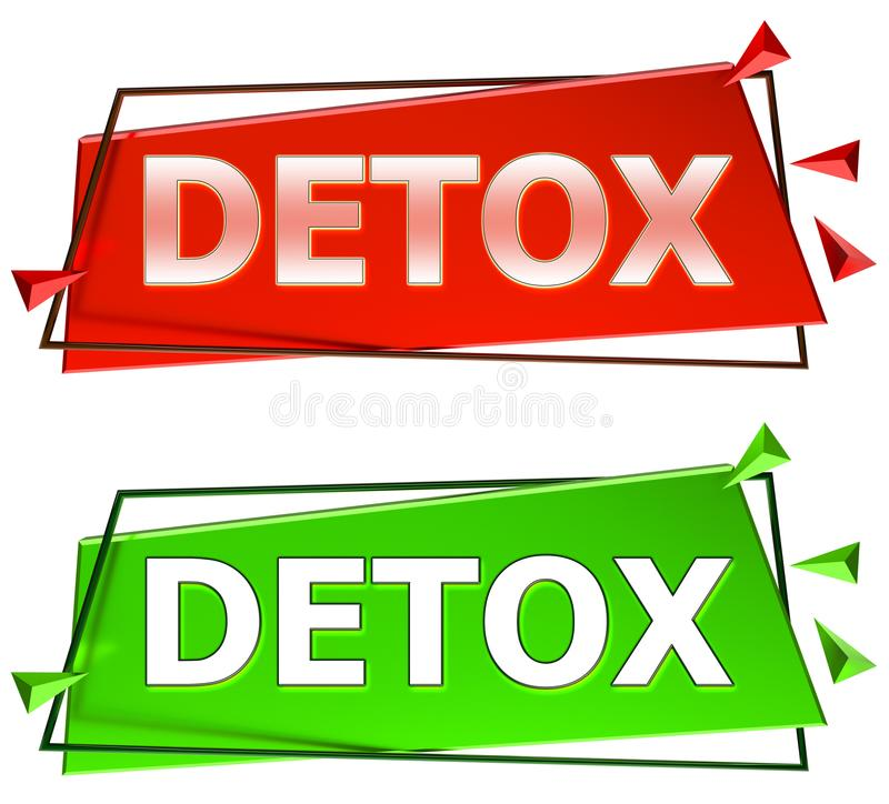 Detox sign. Detox modern 3d sign isolated on white background,color red and green royalty free illustration