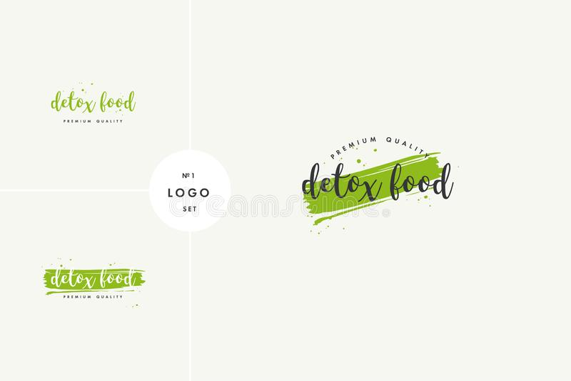 Detox natural product icons and elements collection for food market, ecommerce, organic products promotion, healthy life 向量例证