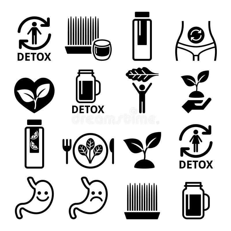 Detox, nettoyage de corps avec des jus, légumes ou icônes de régime réglées illustration de vecteur