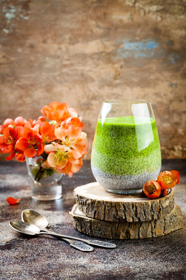 Detox ombre layered matcha green tea chia seed pudding. Vegan dessert with coconut milk. Healthy vegetarian breakfast. Dieting, weight loss food stock image