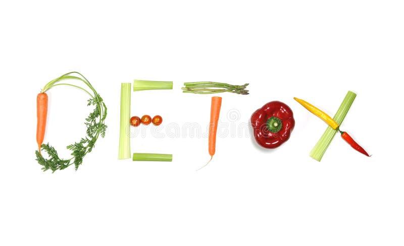Detox pisać z warzywami w zdrowym odżywiania pojęciu obraz stock