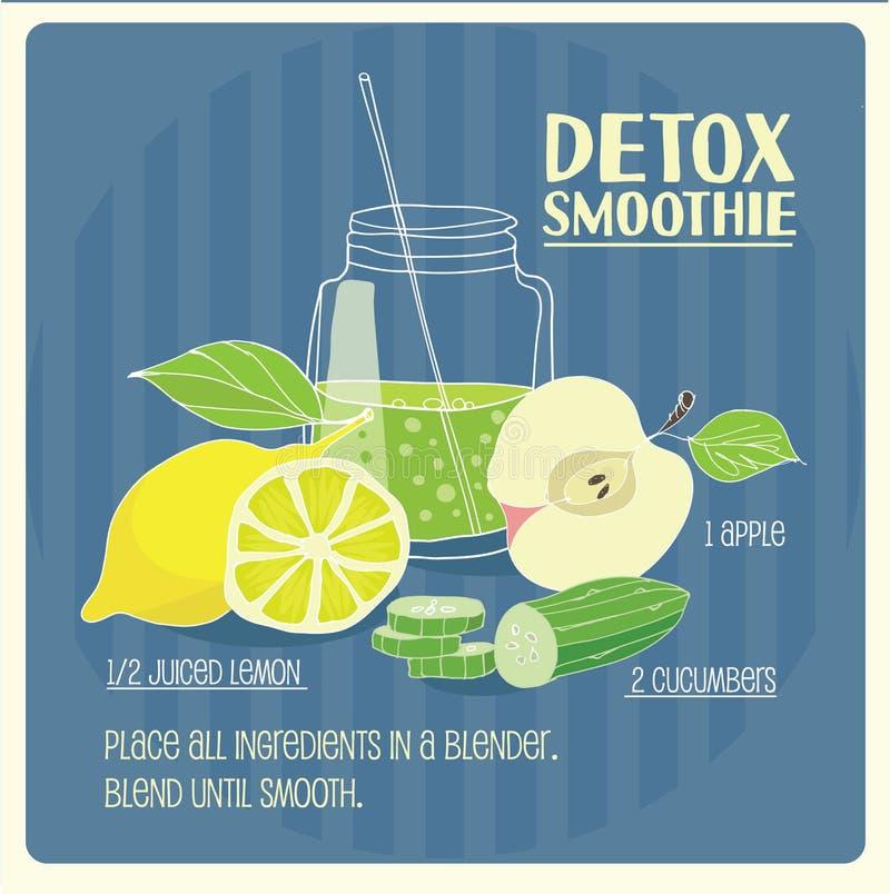 Detox smoothie. Illustration of green detox smoothie recipe with ingredients stock illustration