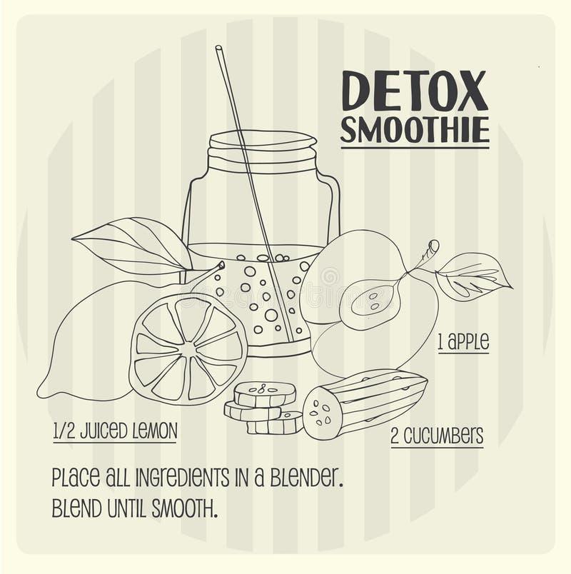 Detox smoothie recept vector illustratie